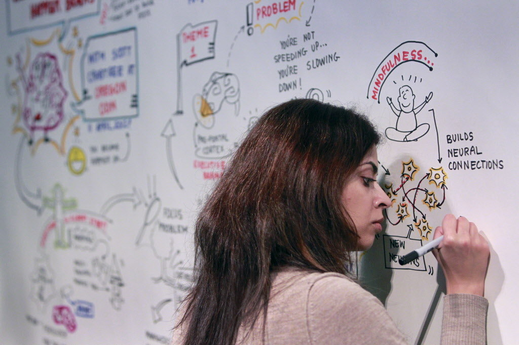 Person drawing on a whiteboard