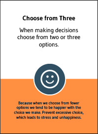"""Choose from Three"" card from Choose Happiness @ Work game"