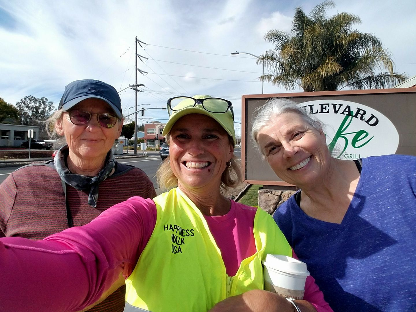 Gross National Happiness USA walker Paula Francis, center, with two walk interviewees in northern California.