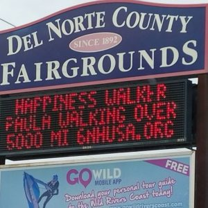 Rolling out the welcome mat for the Happiness Walk in Crescent City, CA!