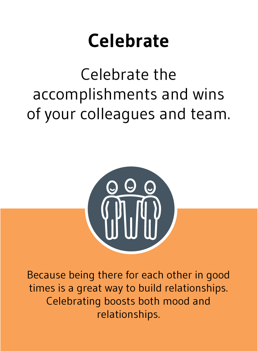 Celebrate: Celebrate the accomplishments and wins of your colleagues and team. Because being there for each other in good times is a great way to build relationships. Celebrating boosts both mood and relationships.