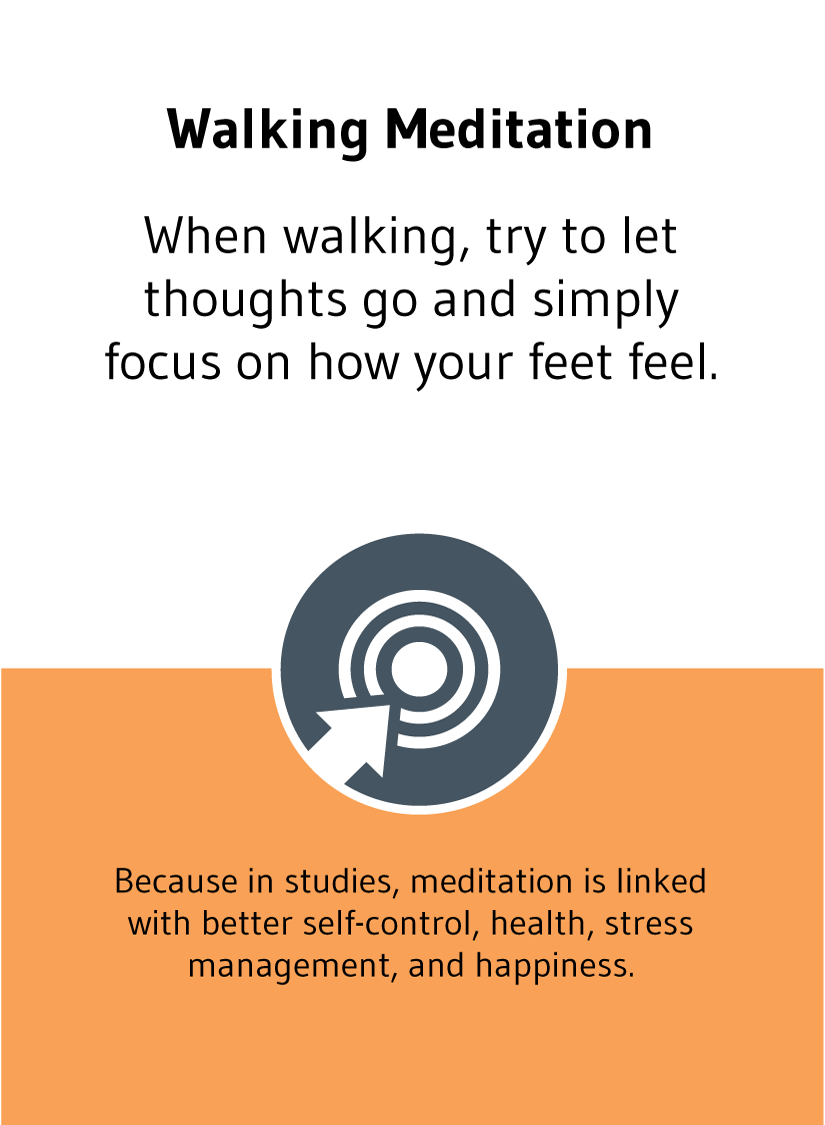 Walking Meditation: When walking, try to let thoughts go and simply focus on how your feet feel. Because, in studies, meditation is linked with better self-control, health, stress management, and happiness.