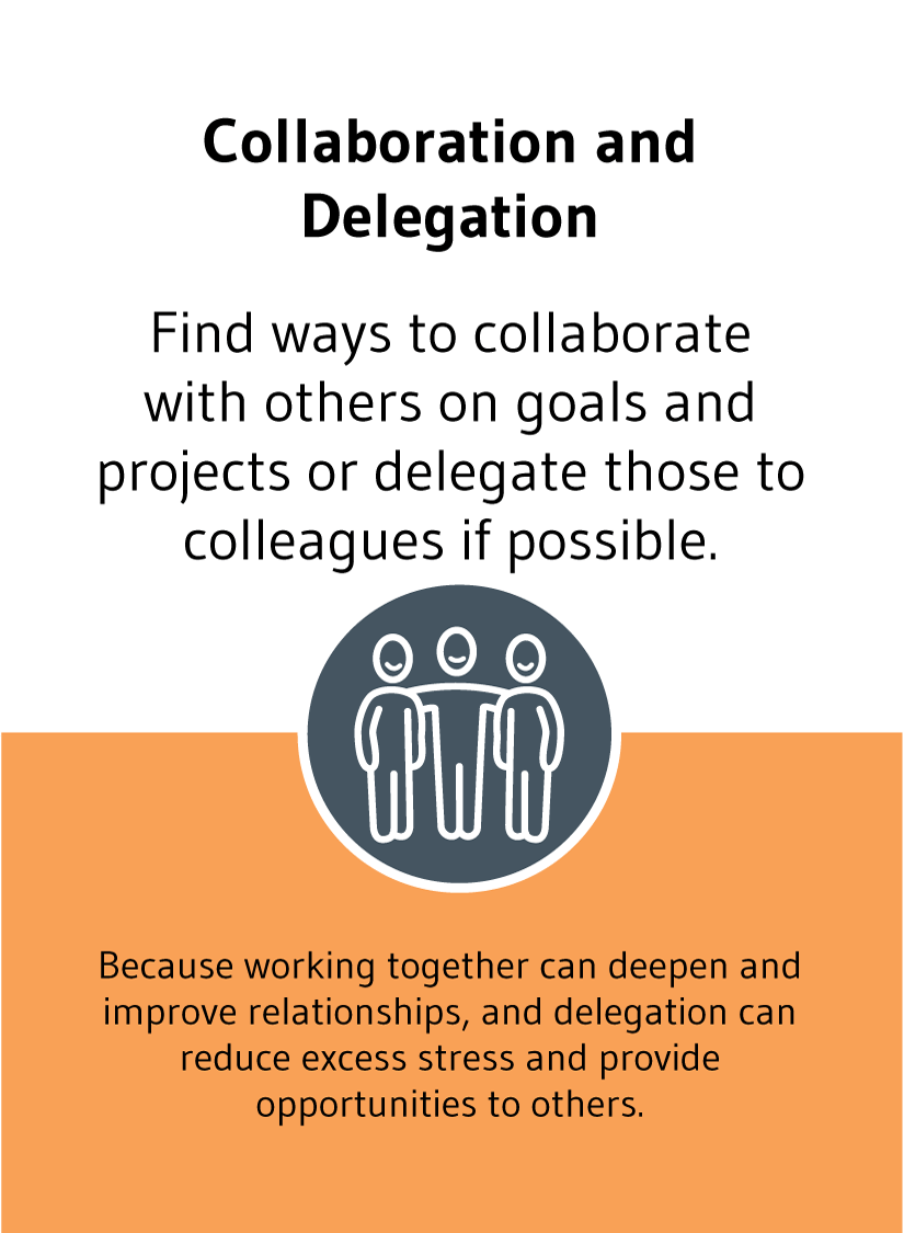 Collaboration and Delegation: Find ways to collaborate with others on goals and projects or delegate those to colleagues if possible. Because working together can deepen and improve relationships, and delegation can reduce excess stress and provide opportunities to others.