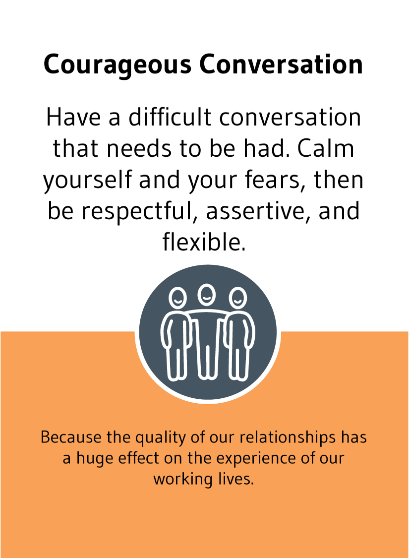 Courageous Conversation: Have a difficult conversation that needs to be had. Calm yourself and your fears, then be respectful, assertive, and flexible.