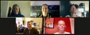 Virtual Game Night: Image of 5 Happy Brain Science staff laughing over videoconference
