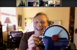 Virtual Game Night: Image of the Happy Brain Science Team playing Wavelength over videoconferencing