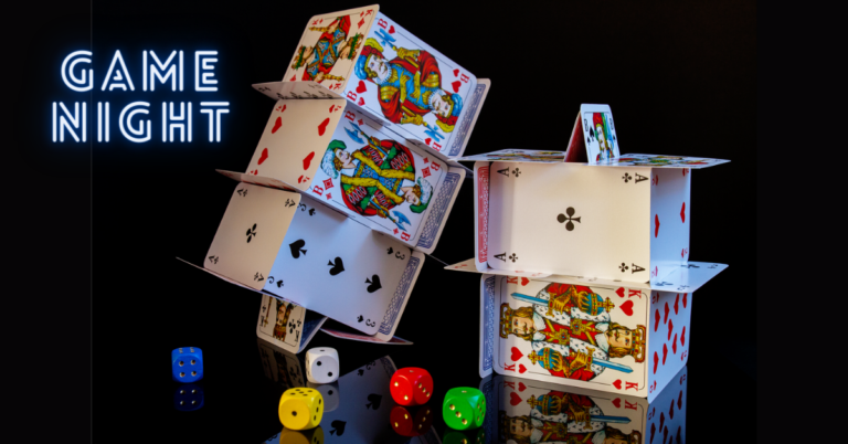 Virtual Game Night: Image of two houses of playing cards and a set of die in various colors