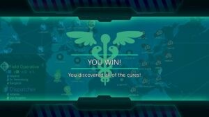 """Virtual Game Night: Screenshot of a """"You Win!"""" screen from the Steam version of the game Pandemic"""
