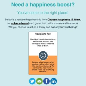 "Sample card from Choose Happiness @ Work (""Courage to Fail"")"