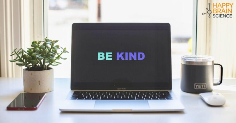 Laptop screen that shows the words: Be Kind